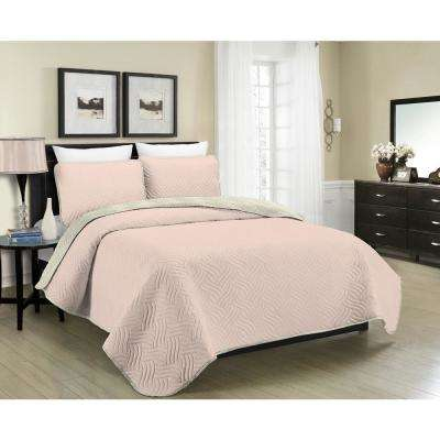 Reversible Austin 3-Piece Blush and Cream Full and Queen Quilt Set