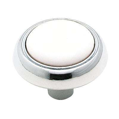 1-1/4 in. White And Chrome Cabinet Knob