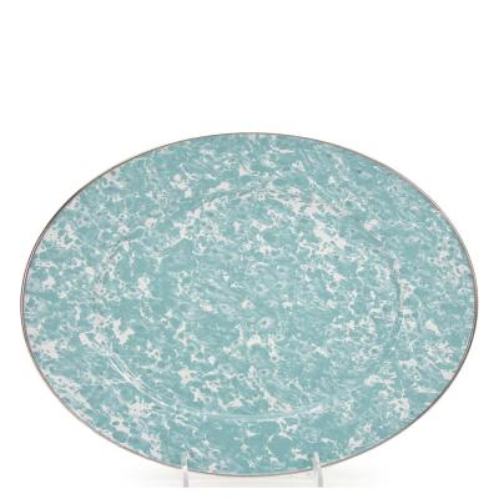Sea Glass 12 in. x 16 in. Enamelware Oval Platter