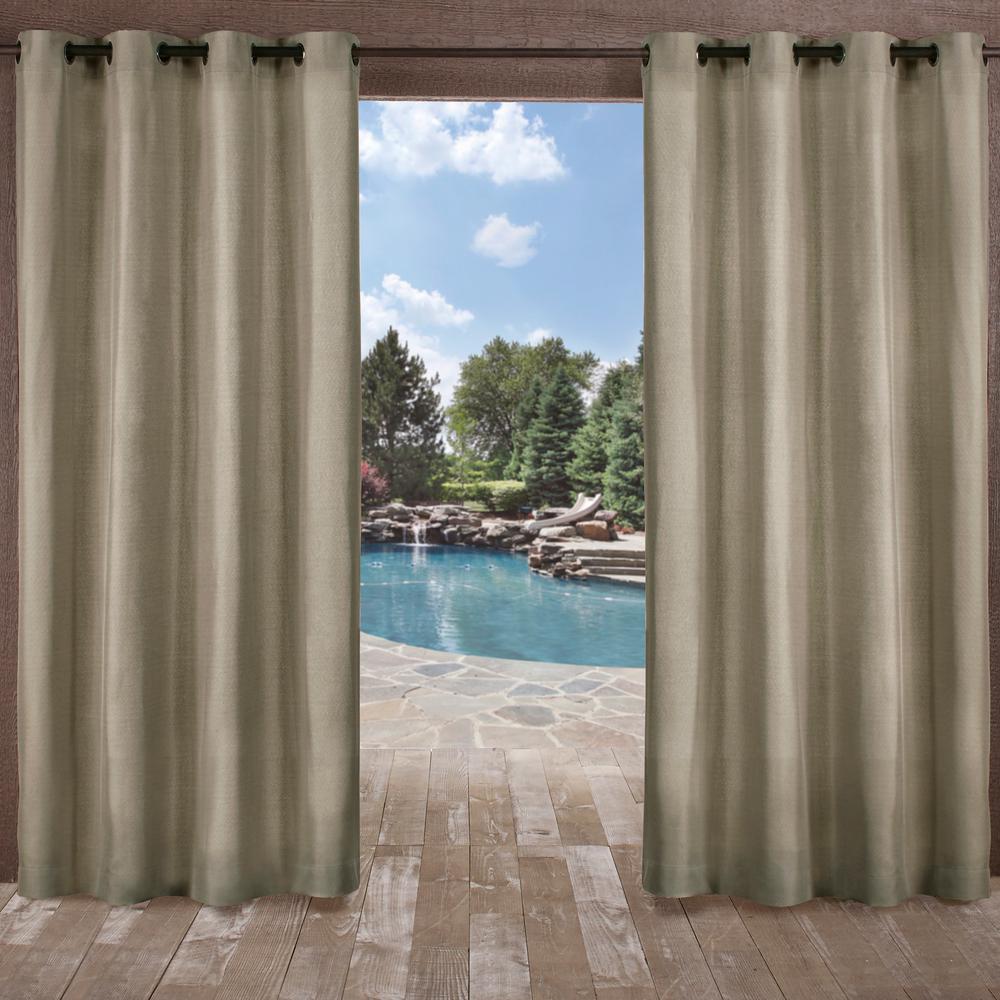 Biscayne 54 in. W x 84 in. L Indoor Outdoor Grommet Top Curtain Panel in Natural (2 Panels)