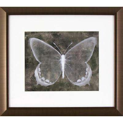 15.75 in. x 13.75 in. Sepia Butterfly Printed Framed Wall Art