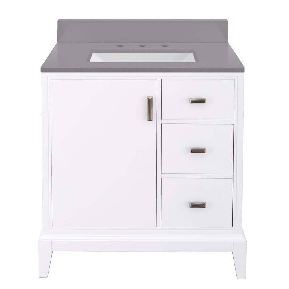 Home Decorators Collection Shaelyn 31 in. W x 22 in. D Bath Vanity in White Wash RH w/ Engineered Marble Vanity Top in Slate Grey w/ White Sink was $849.0 now $594.3 (30.0% off)