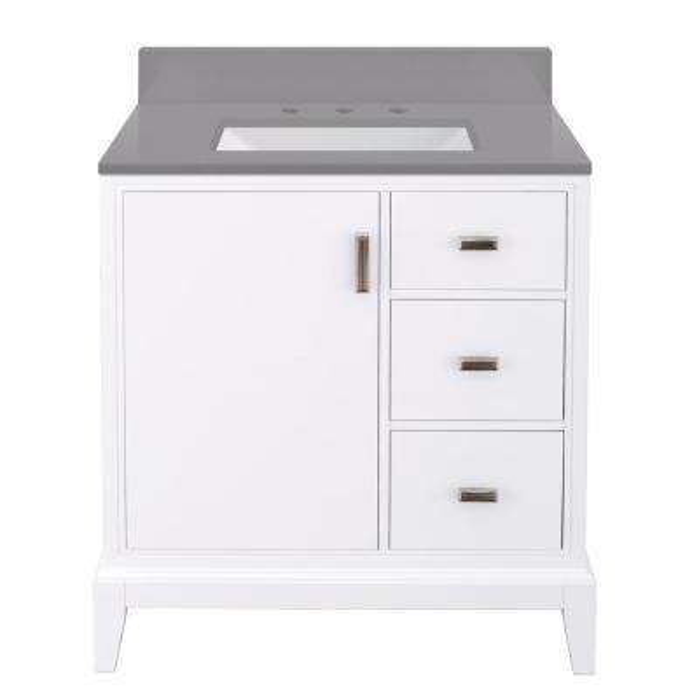 Shaelyn 31 in. W x 22 in. D Bath Vanity in White Wash RH w/ Engineered Marble Vanity Top in Slate Grey w/ White Sink