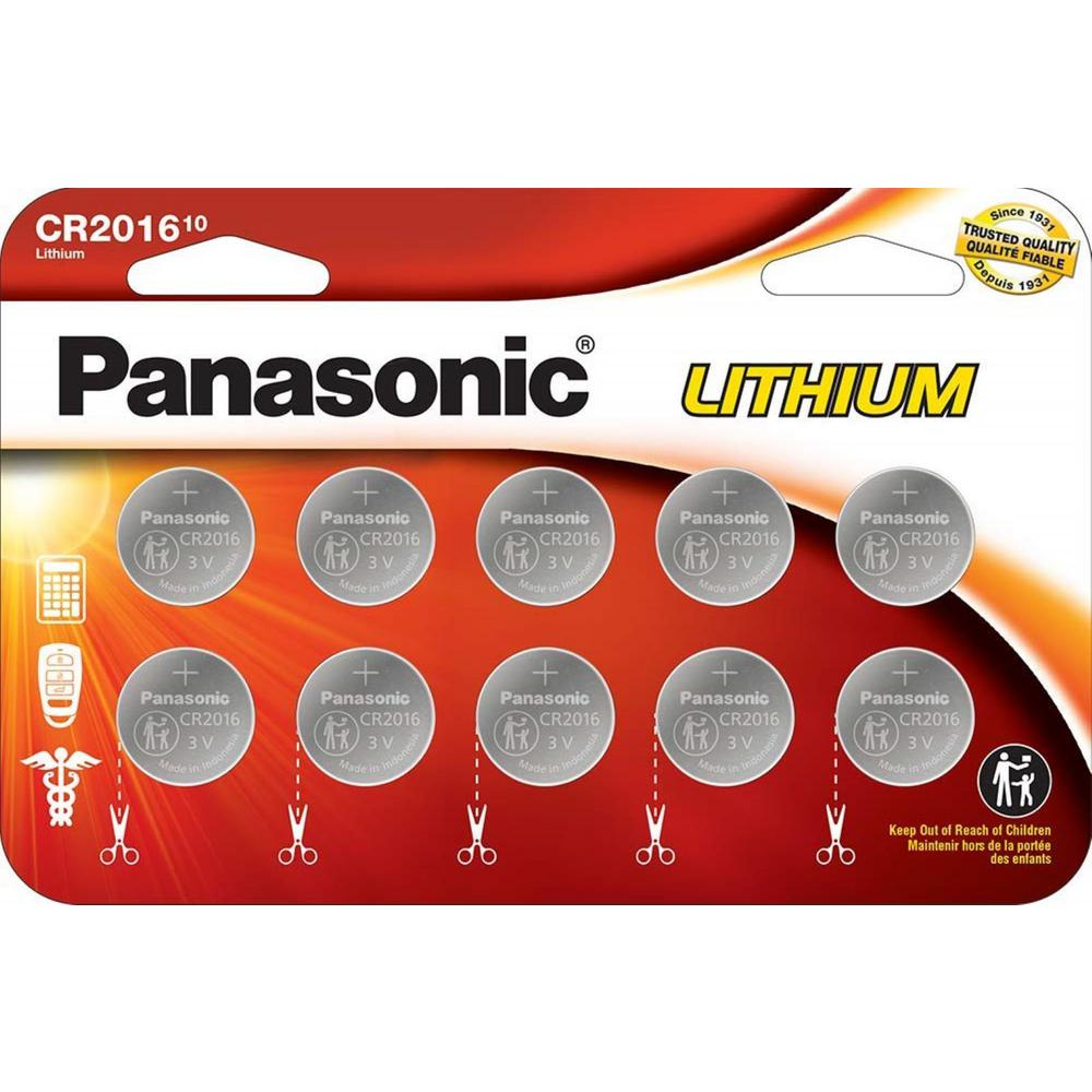 CR2016 Lithium Coin Cell Batteries (10-Pack)