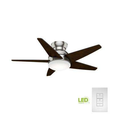 Isotope 44 in. LED Indoor Brushed Nickel Ceiling Fan with Light and Wall Control