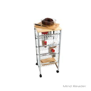 Mind Reader 4-Tier Silver Wire Basket Utility Cart with Wood ...