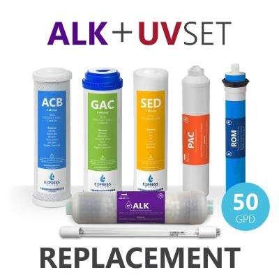 Reverse Osmosis Alkaline UV System Full Replacement Filter Set - 7 Filters with 50 GPD Membrane