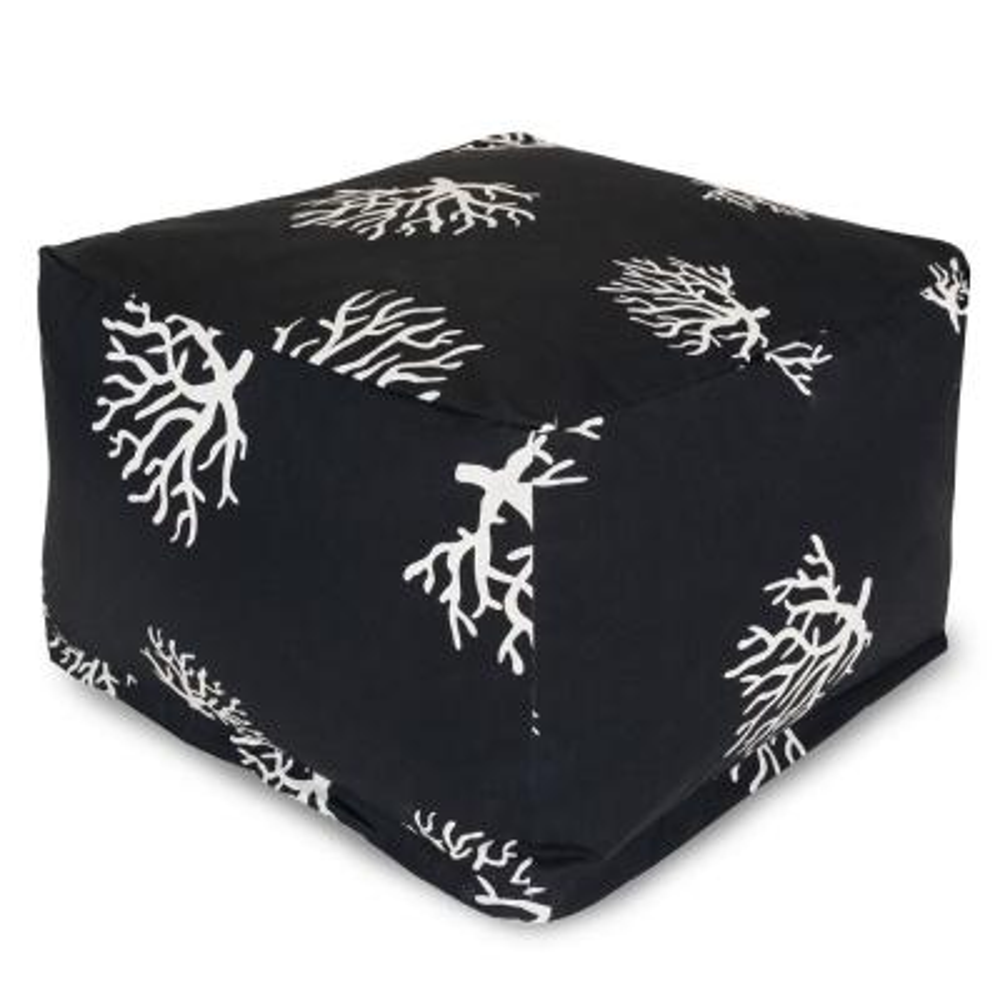 Black Coral Indoor/Outdoor Ottoman Cushion