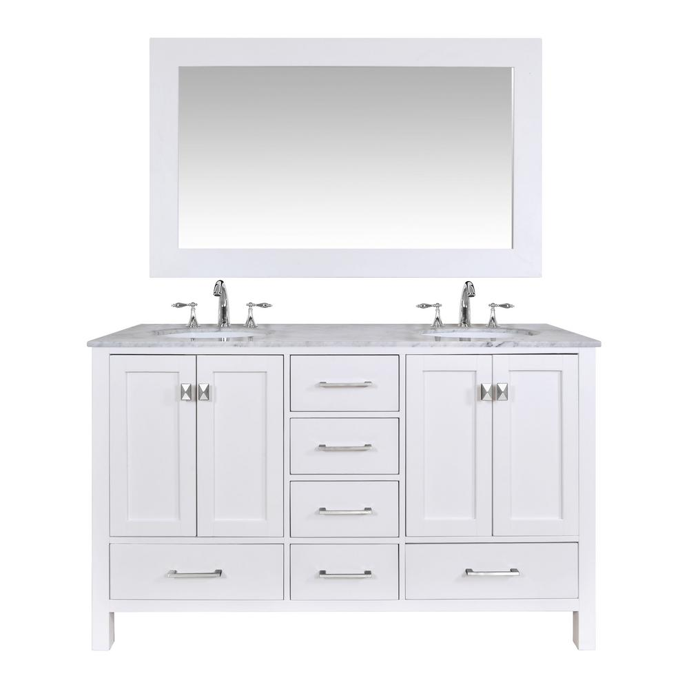 stufurhome Malibu 60 in. Vanity in Pure White with Marble Vanity Top in Carrara White with Mirror