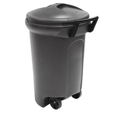 32 Gal. Wheeled Blow Molded Outdoor Trash Can in Black