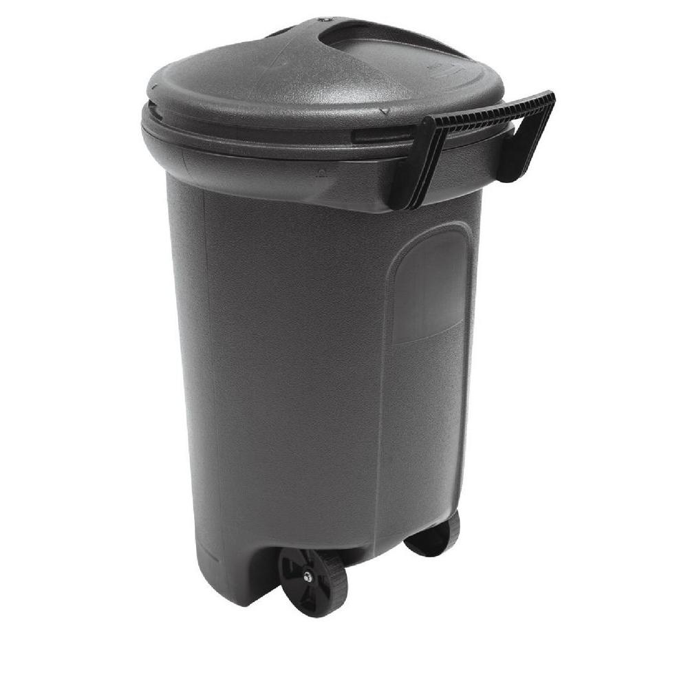 United Solutions 32 Gal Wheeled Blow Molded Outdoor Trash Can In