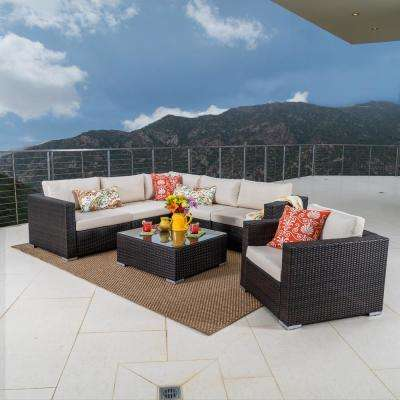 Santa Rosa Multi Brown 7-Piece Wicker Outdoor Sectional Set with Beige Cushions