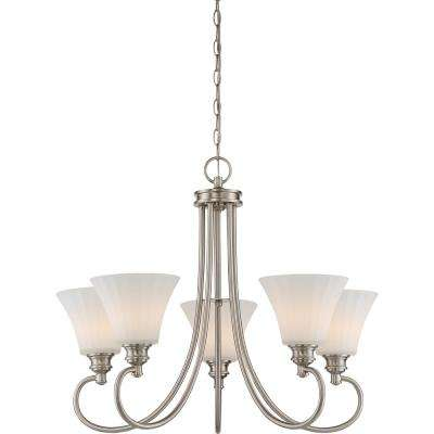 5-Light Brushed Nickel Chandelier with Frosted Fluted Glass Shade