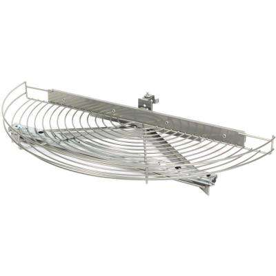3.25 in. H x 33.81 in. W x 16 in. D  Single Shelf Glide-Out Half Moon Frosted Nickel Wire Lazy Susan