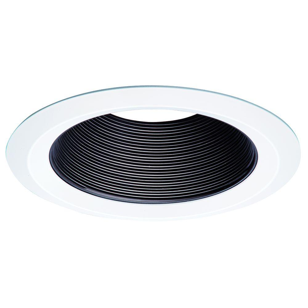 Halo E26 Series 6 in. Black Recessed Ceiling Light Tapered Baffle with Self Flanged White Trim Ring