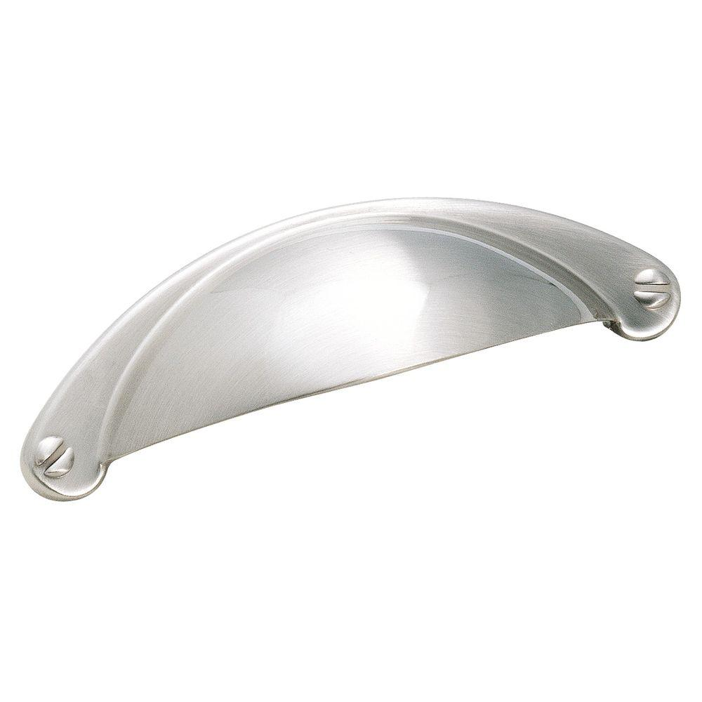Essential'z 2-1/2 in. Satin Nickel Cup Cabinet Pull