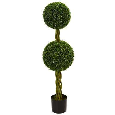 4 ft. UV Resistant Indoor/Outdoor Boxwood Double Ball Artificial Topiary Tree with Woven Trunk