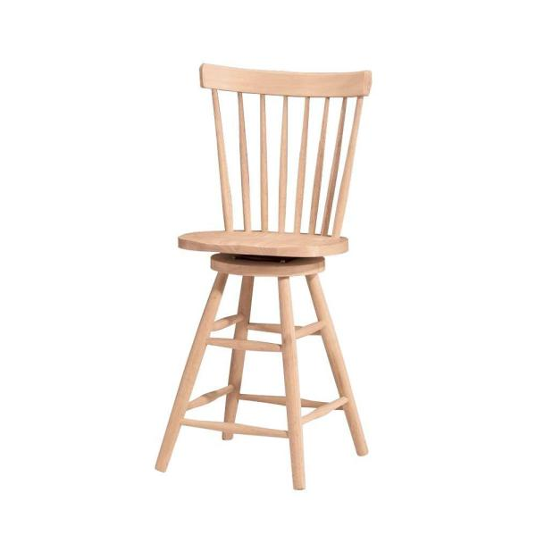 International Concepts 24 in. Unfinished Wood Swivel Bar Stool 285-24