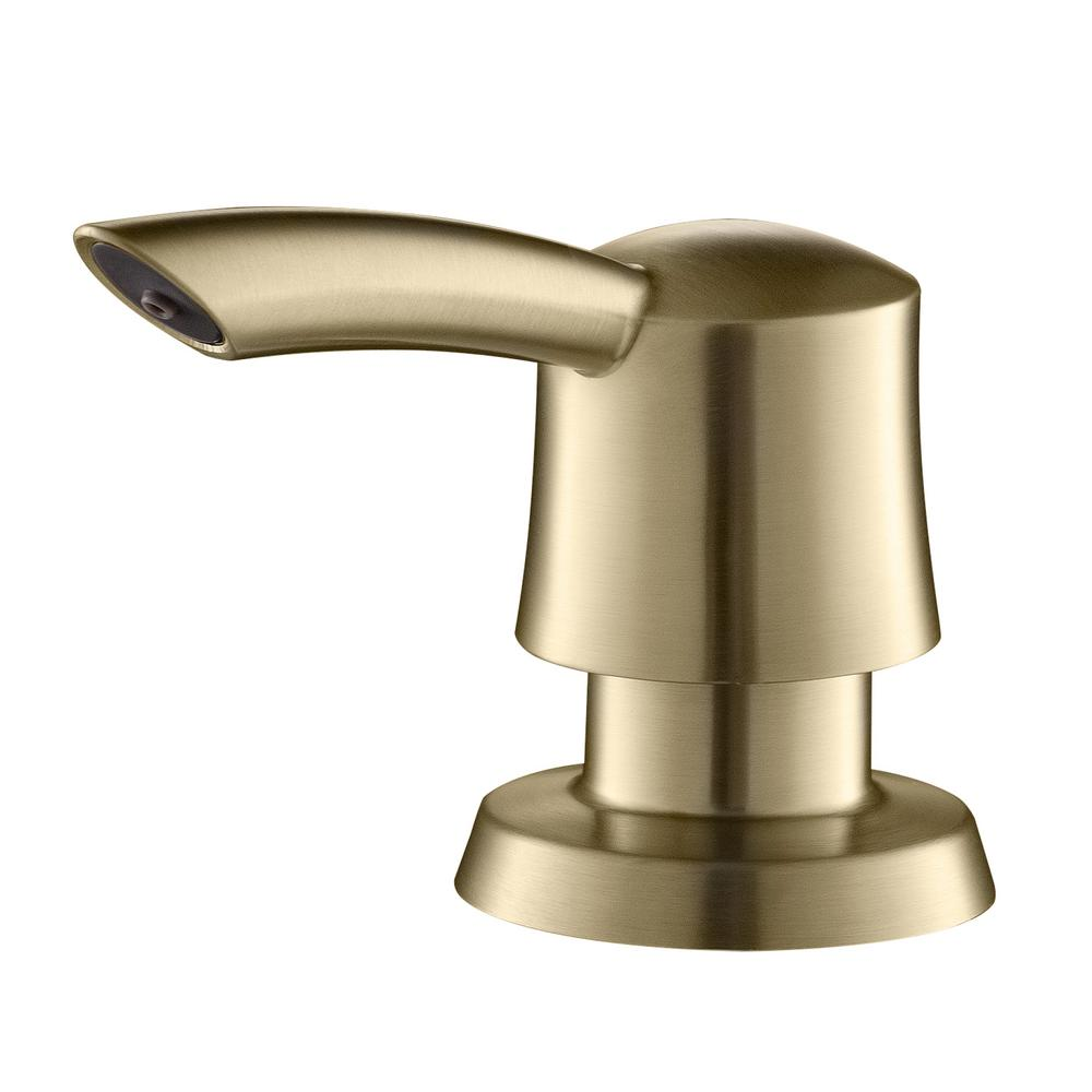 kraus savan kitchen soap dispenser in brushed gold-ksd