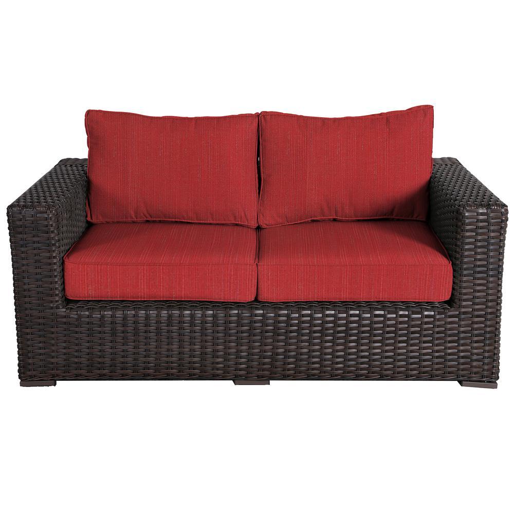 Santa Monica Patio Wicker Outdoor Loveseat with Sunbrella Crimson Dupione Cushions