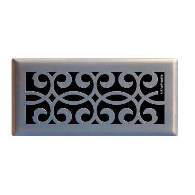 4 in. x 10 in. Classic Scroll Floor Register in Brushed Nickel