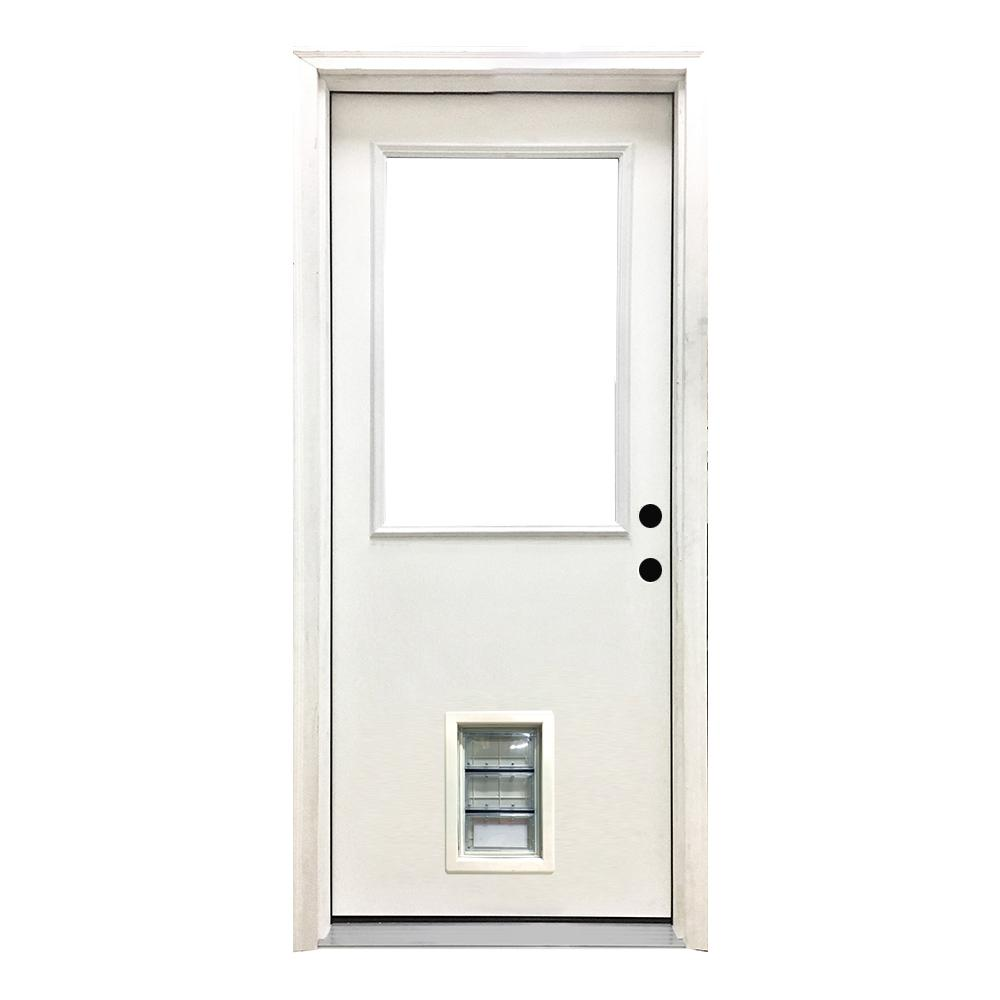 Steves sons 30 in x 80 in classic half lite lhis white - 30 x 80 exterior door with pet door ...