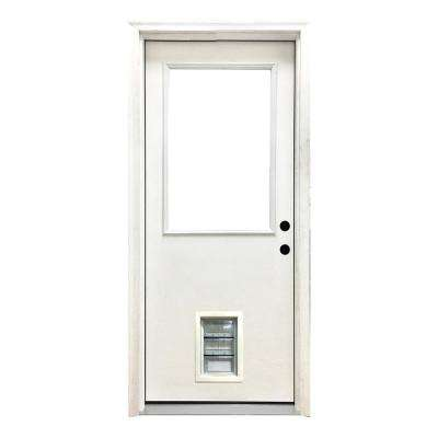 30 in. x 80 in. Classic Half Lite LHIS White Primed Textured Fiberglass Prehung Front Door with Med Pet Door