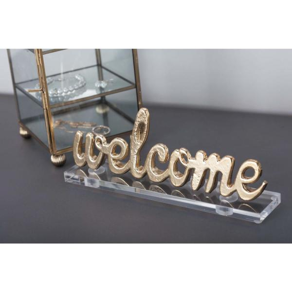 Litton Lane 9 in. x 4 in. Modern ''Welcome'' Gold and