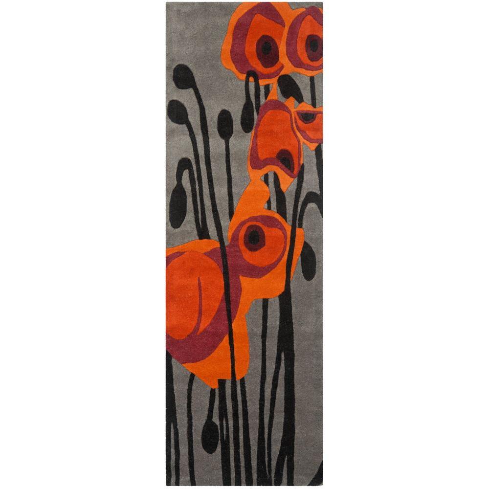 Safavieh Soho Grey Orange 3 Ft X 6 Ft Runner Rug Soh853b