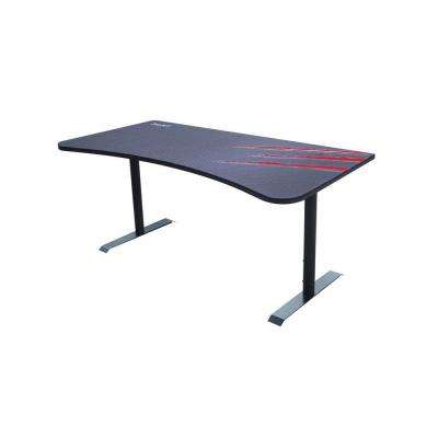 63 in. Rectangular Black/Red Computer Desk with Adjustable Height Feature