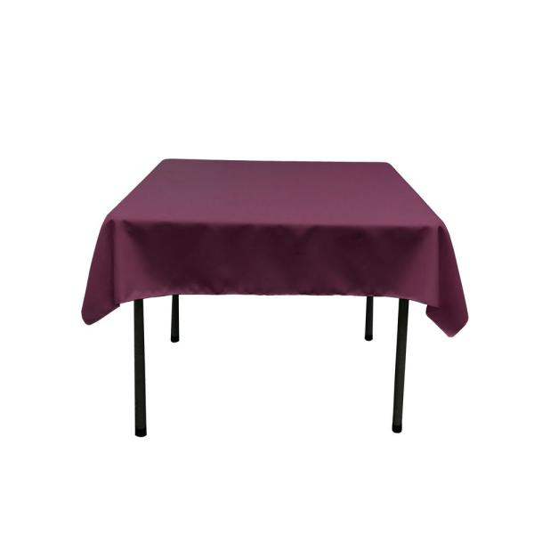 58 in. x 58 in. Eggplant Polyester Poplin Square Tablecloth
