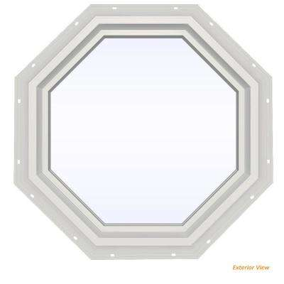 23.5 in. x 23.5 in. V-4500 Series White Vinyl Fixed Octagon Geometric Window w/ Low-E 366 Glass