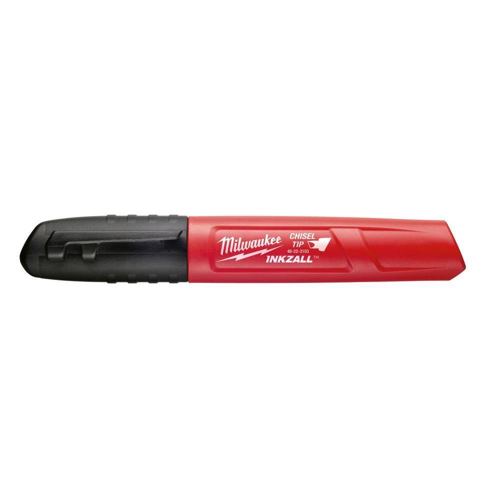 INKZALL Black Chisel Tip Jobsite Permanent Marker