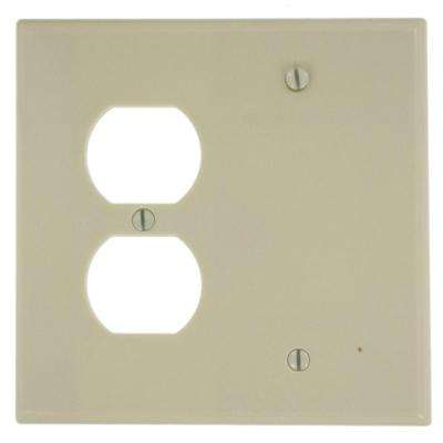 2-Gang Midway Size 1-Duplex Receptacle No Device Blank Plastic Combination Wall Plate in Ivory