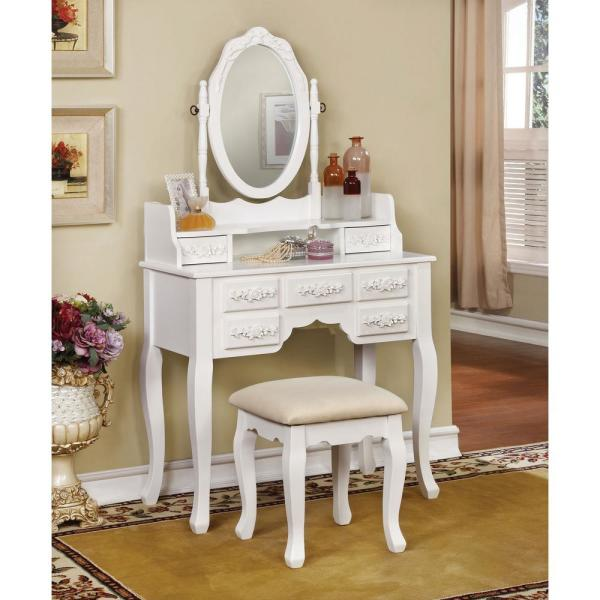 Williams Home Furnishing White Harriet Vanity With Padded Stool And