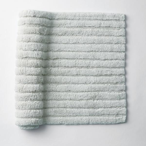 Green Earth Quick Dry Fountain Blue 30 in. x 50 in. Solid Cotton Bath Rug