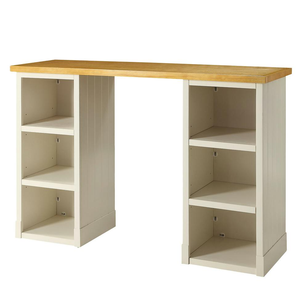 Sidney Polar White With Solid Wood Top Craft Desk