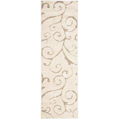 Florida Shag Cream/Beige 2 ft. 3 in. x 17 ft. Runner Rug