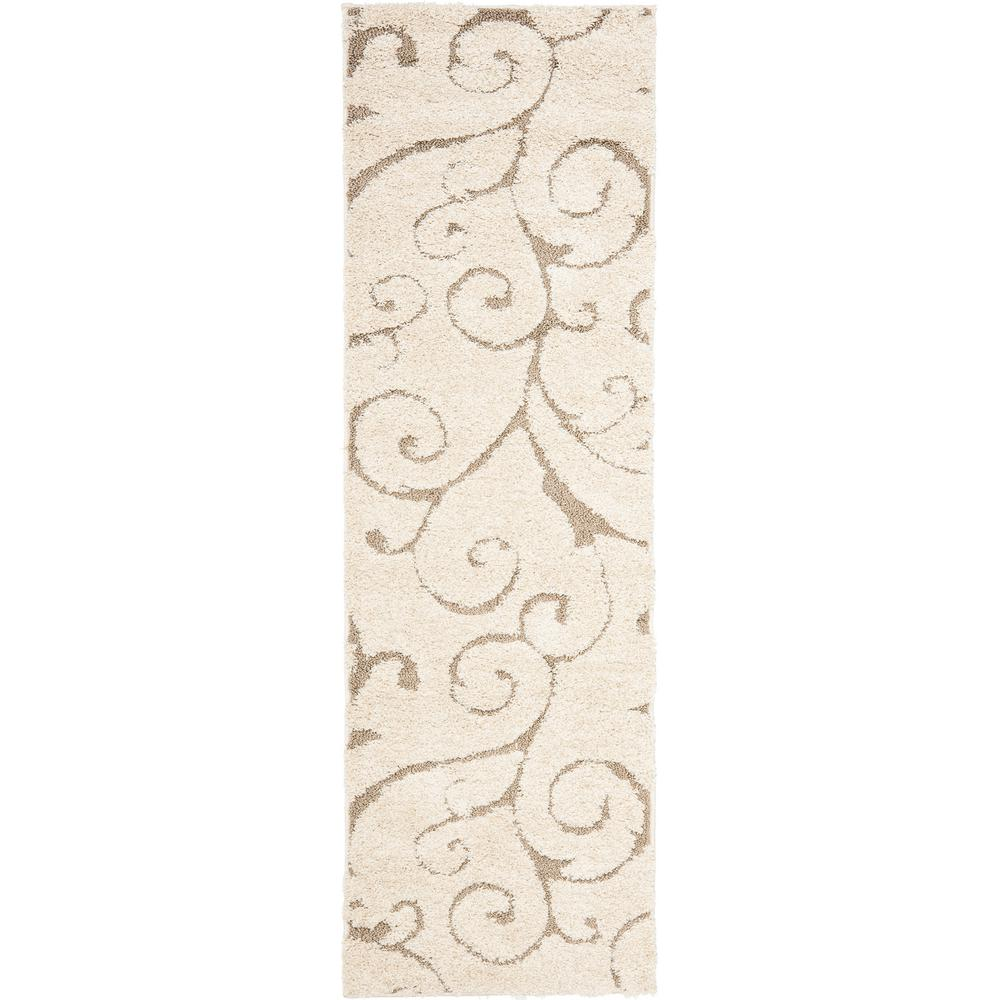 Safavieh Florida Shag Cream/Beige 2 ft. x 8 ft. Runner Rug