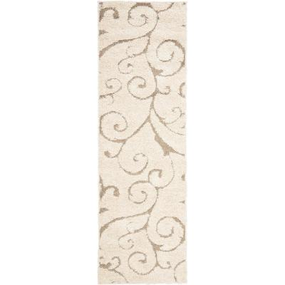 Florida Shag Cream/Beige 2 ft. x 9 ft. Runner Rug