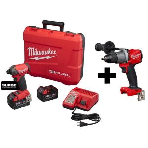 Milwaukee M18 FUEL SURGE 18-Volt Lithium-Ion Brushless Cordless 1/4 in. Hex Impact Driver Kit with Free M18 FUEL Hammer Drill