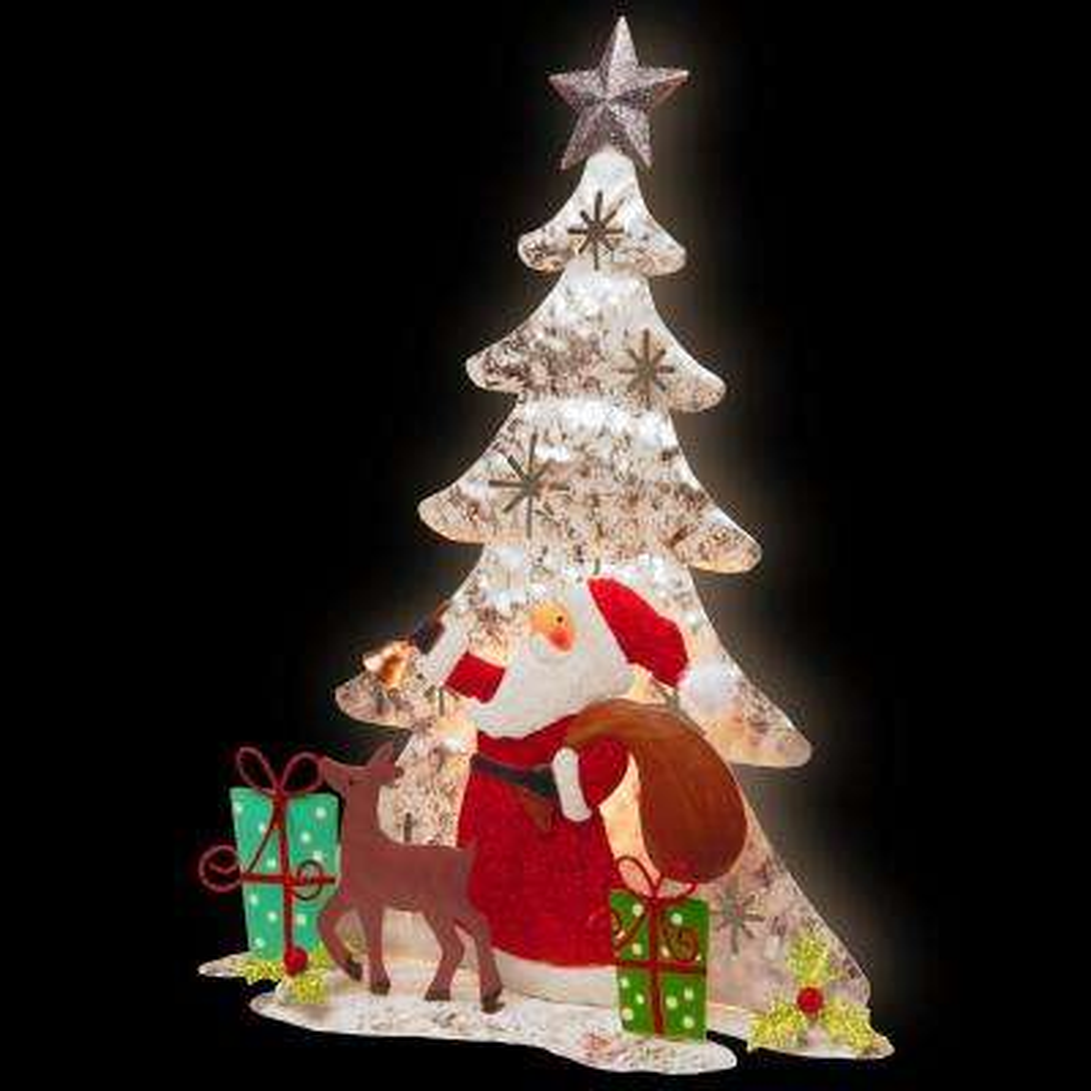 16 in. Lighted Tree Santa Scene
