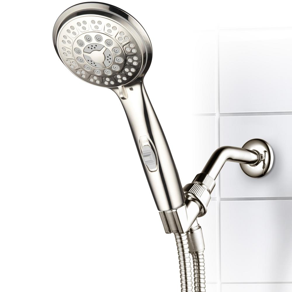 Hotel Spa 9 Spray 4 In Single Wall Mount Handheld Rain Shower Head Brushed Nickel
