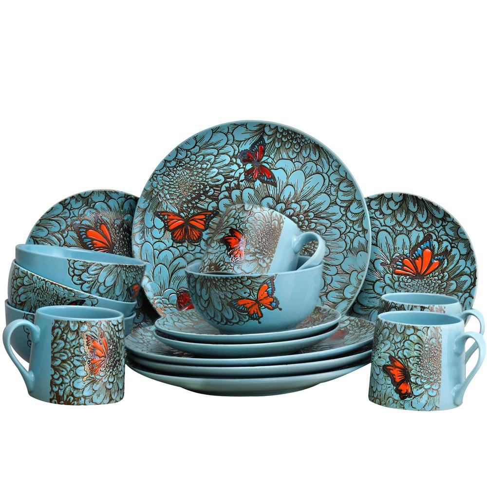 Butterfly Garden 16-Piece Contemporary Blue Stone Dinnerware Set (Service for 4)