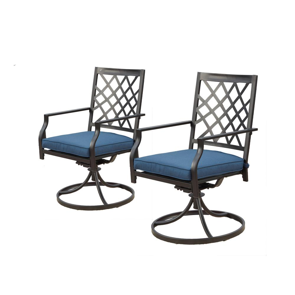 Incredible Patio Festival Swivel Rocking Metal Outdoor Lounge Chair With Blue Cushions Machost Co Dining Chair Design Ideas Machostcouk