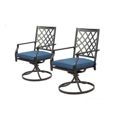 Swivel Rocking Metal Outdoor Lounge Chair with Blue Cushions