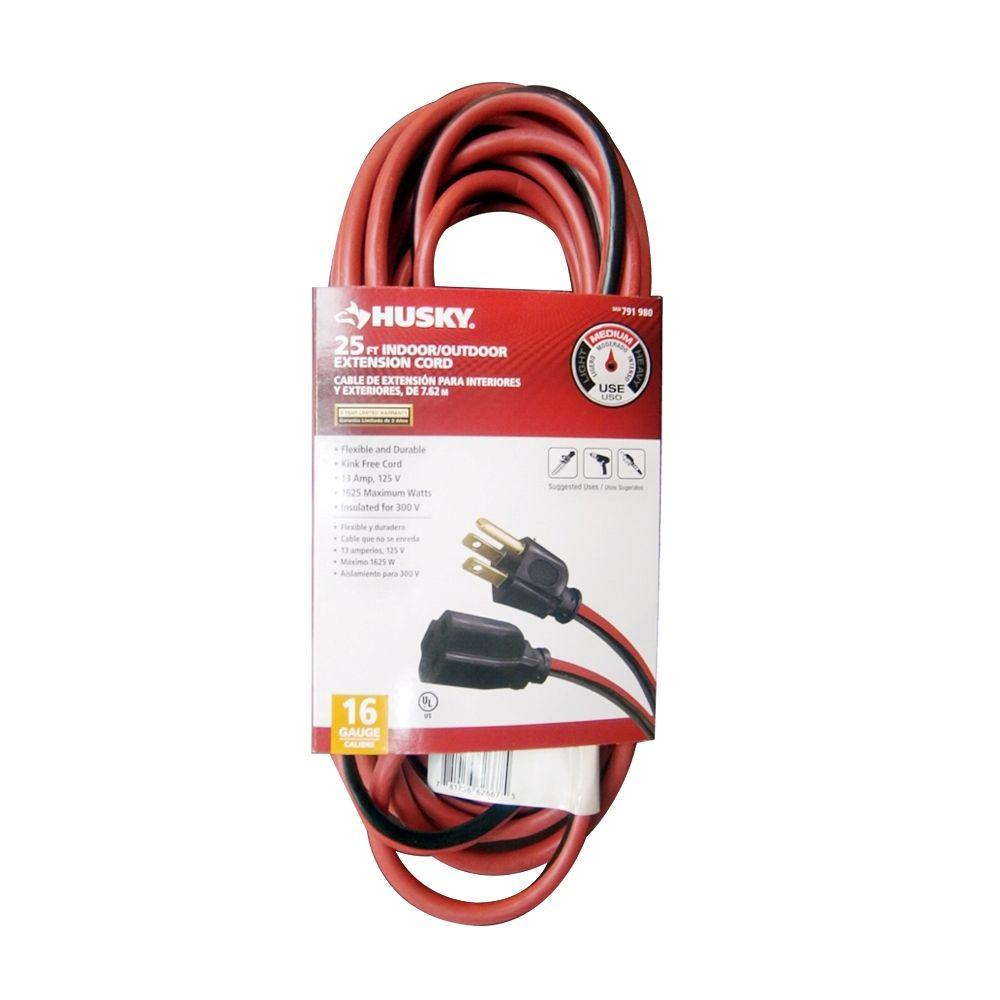 Husky 25 ft. 16/3 Indoor/Outdoor Extension Cord, Red and Black ...