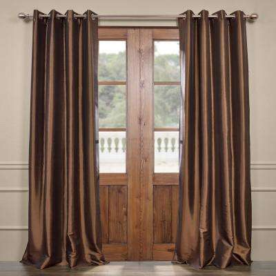 Mushroom Brown Grommet Blackout Faux Silk Taffeta Curtain - 50 in. W x 120 in. L