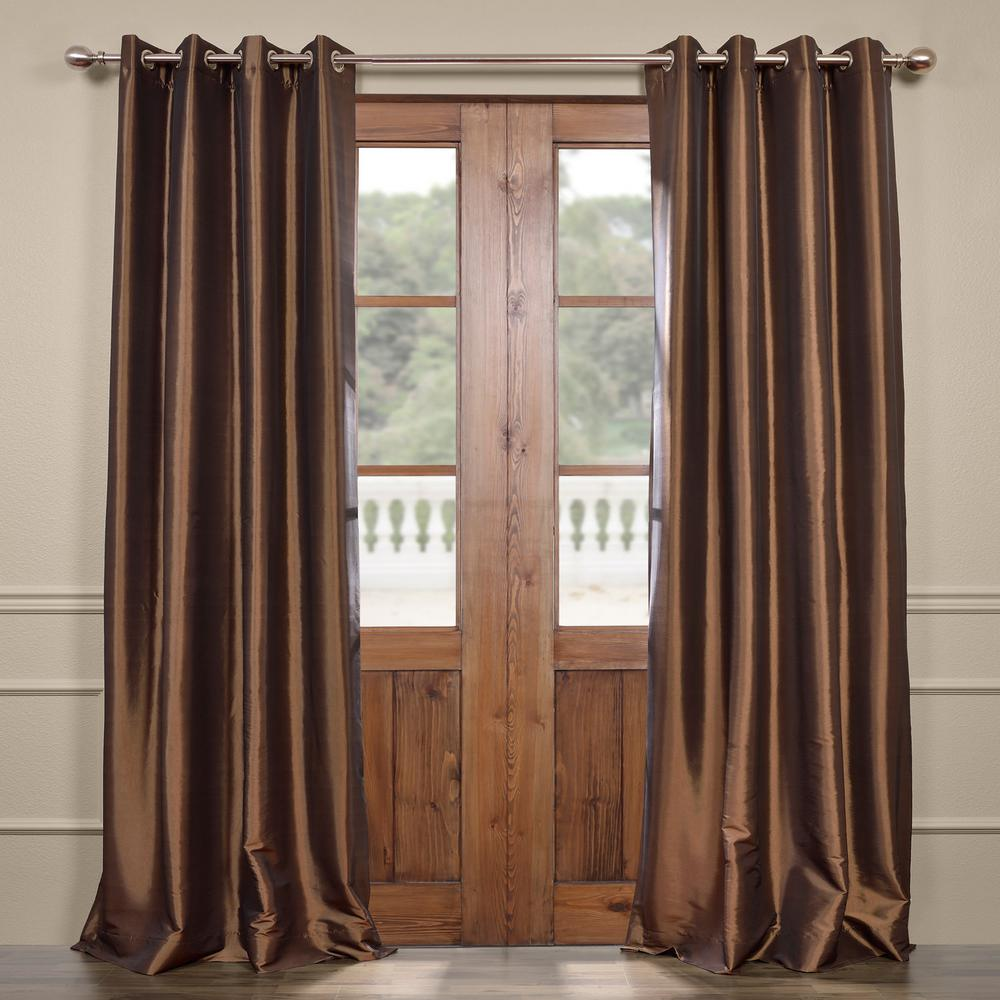 Exclusive Fabrics & Furnishings Mushroom Brown Grommet Blackout Faux Silk Taffeta Curtain - 50 in. W x 96 in. L