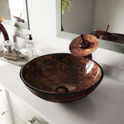 Glass Vessel Sink in Kenyan Twilight with Waterfall Faucet Set in Oil Rubbed Bronze